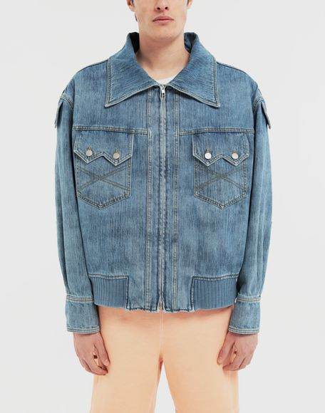 MAISON MARGIELA Bleached indigo denim sports jacket Coats and Trenches Man r