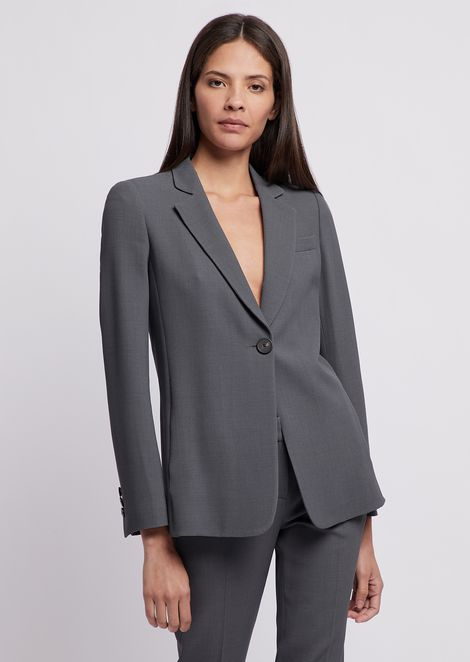 Single-breasted blazer with button in honeycomb fabric