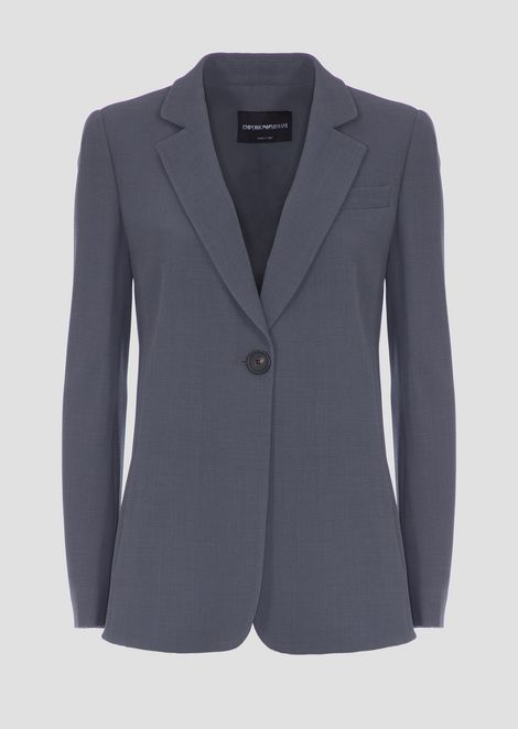 Single-breasted jacket with button in honeycomb fabric