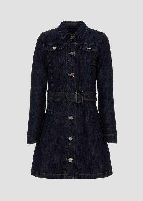Denim trench coat with belt and zigzag stitching