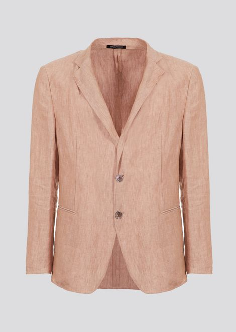 Slim-fit single-breasted blazer in chambray linen