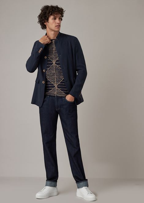 Regular-fit single-breasted jacket in washed cupro natté