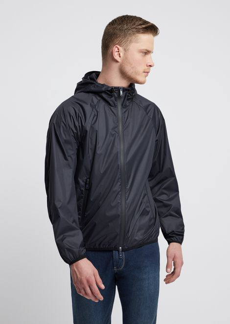 Blouson in nylon with mesh details and logo on the back