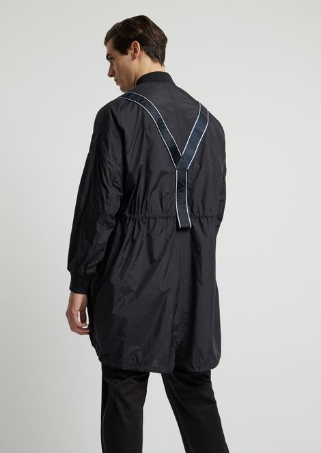 Lightweight nylon jacket with logo taping on the back