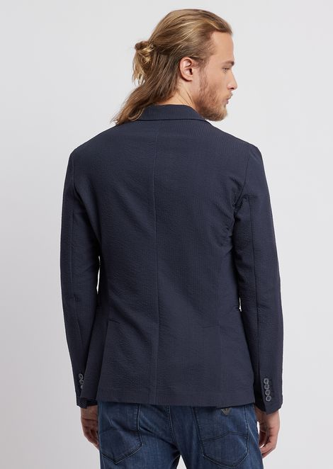 Single-breasted blazer in fine stripe-print seersucker