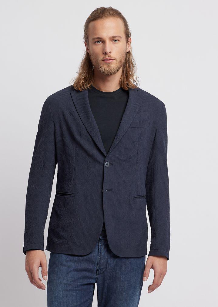 9d612b4a6a Single-breasted blazer in fine stripe-print seersucker