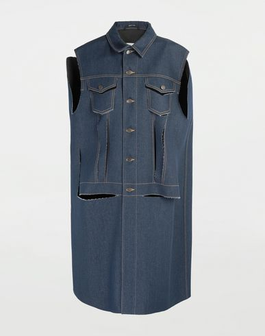Décortiqué denim cape coat