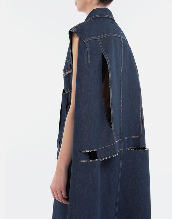 MAISON MARGIELA Décortiqué denim cape coat Coat [*** pickupInStoreShipping_info ***] b