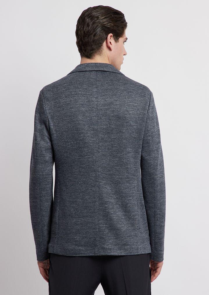 d9101fe208 Single-breasted jacket in faded linen jersey