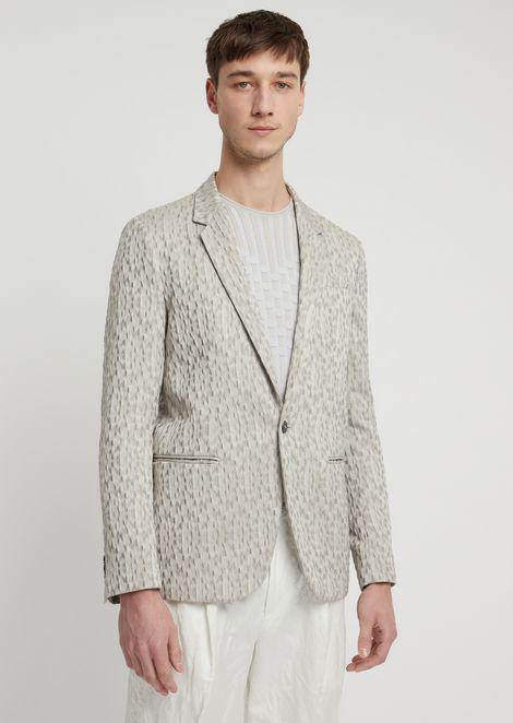 Single-breasted blazer in crinkle jacquard