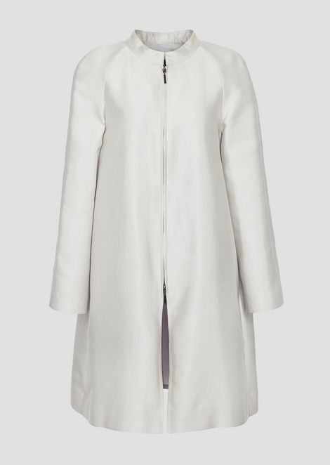 Duster coat in cotton and silk radzimir with zip