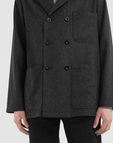 COATS and JACKETS Double-breasted blazer Steel grey
