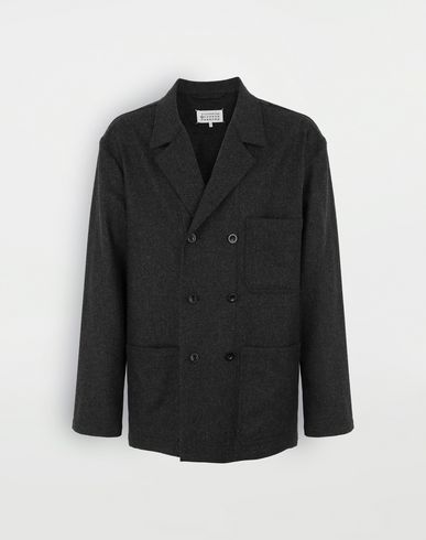 COATS & JACKETS Double-breasted blazer Steel grey