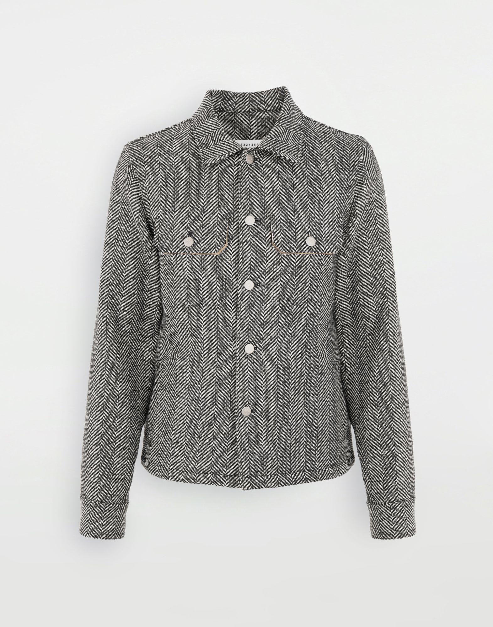 MAISON MARGIELA Пиджак в ёлочку в технике Décortiqué Куртка Для Мужчин f