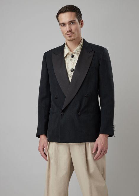 Heritage tuxedo jacket with oversized fit in washed cupro basketweave