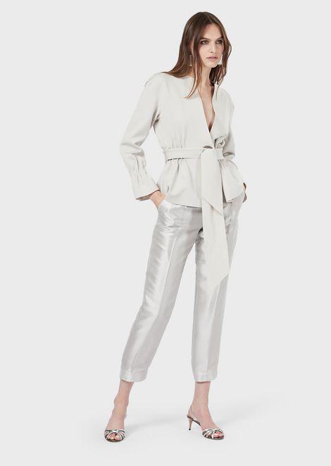 Jersey jacket with pintucks and matching sash