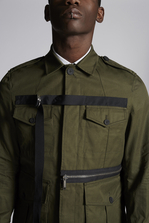 DSQUARED2 Cotton Field Jacket With Zip And Tape Details  Jacket Man
