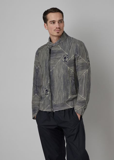 Blouson in printed garment-washed cupro twill with archive logo