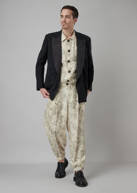 Blouson in printed crumpled-effect twill with geometric motif