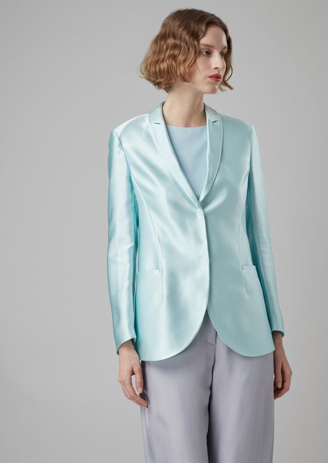 Canvassed jacket in silk ottoman
