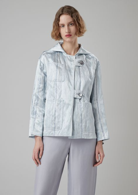 Oversized blouson in printed satin with sailor-style collar