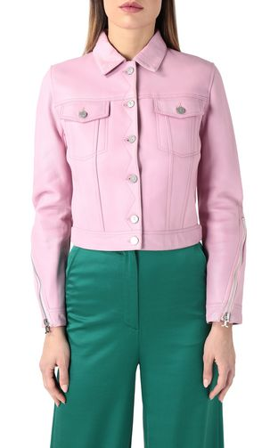 JUST CAVALLI Leather Jacket Woman Pink-leather jacket f