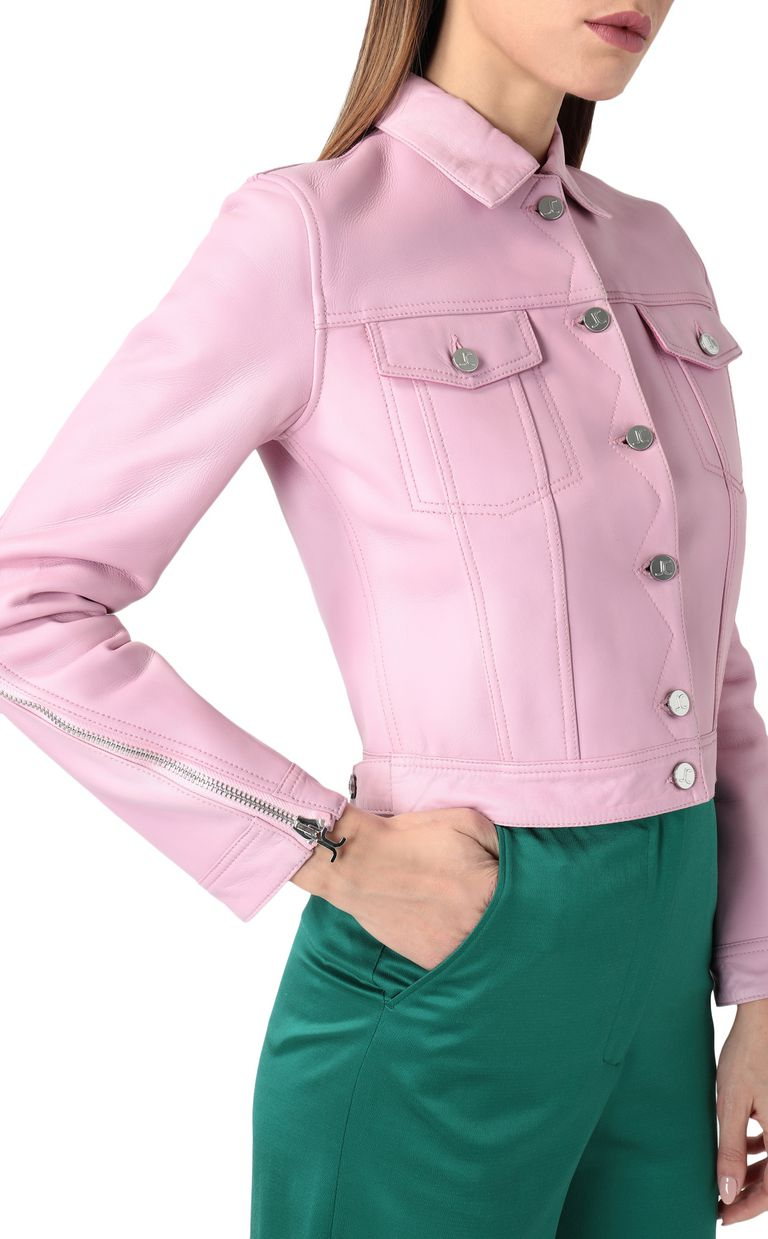 JUST CAVALLI Pink-leather jacket Leather Jacket Woman e