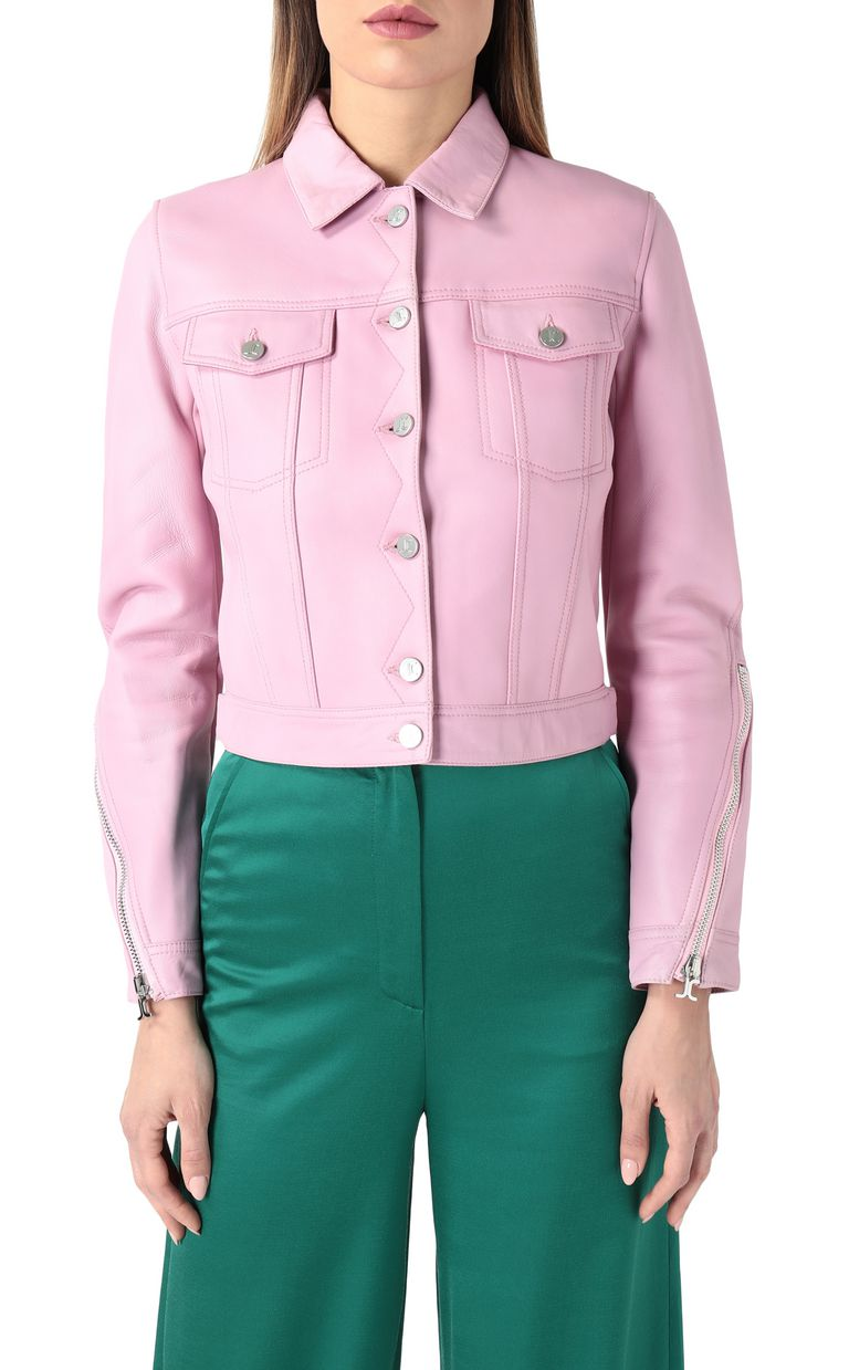 JUST CAVALLI Pink-leather jacket Leather Jacket Woman f