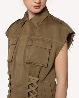 REDValentino Lacing detail gabardine vest