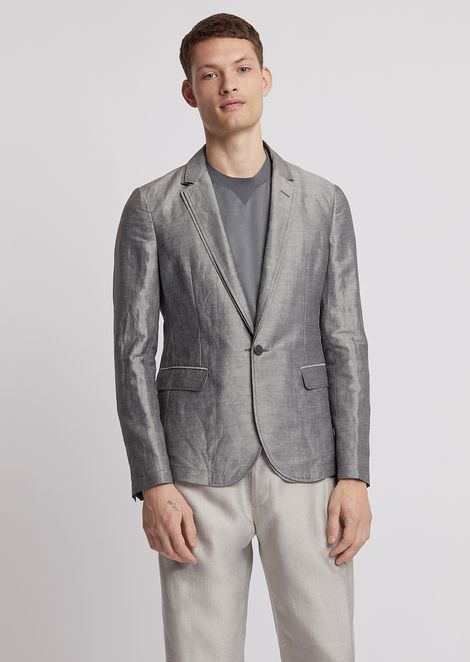 Single-breasted jacket in ramie silk