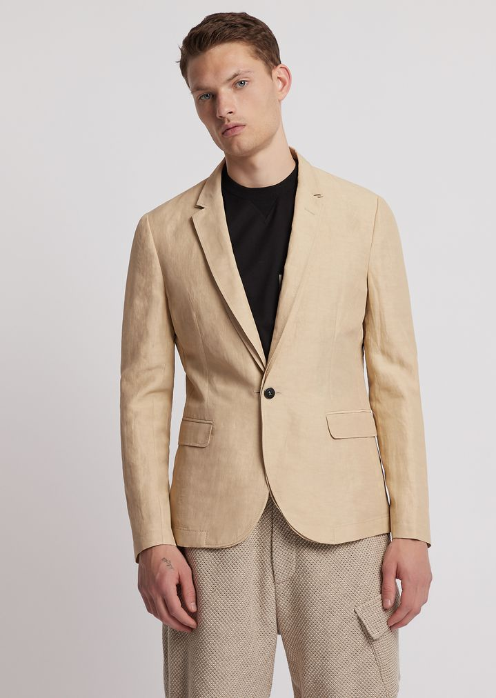 f27633e77c Single-breasted jacket in crinkle-effect fabric