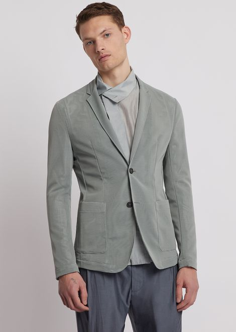 Lightweight stretch mesh single-breasted jacket