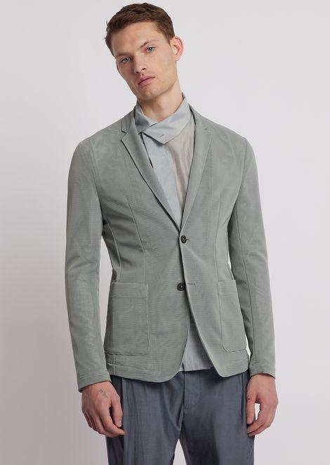 Lightweight stretch mesh single-breasted blazer