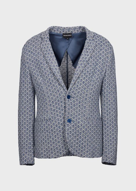 Single-breasted jacket in knit jacquard fabric