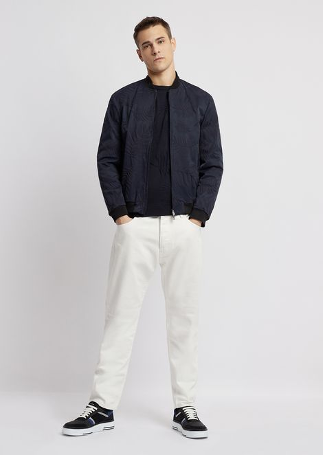 Blouson in openwork poly wool with nylon interior