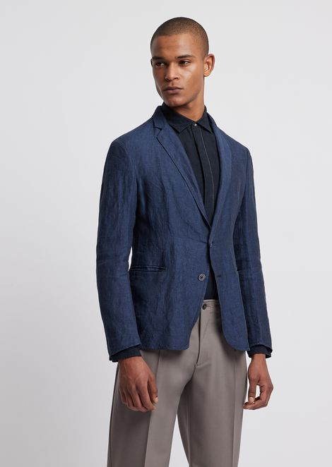 d0d54994518 Single-breasted blazer in chambray linen