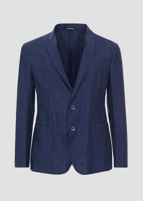 Slim fit single-breasted jacket in chambray linen