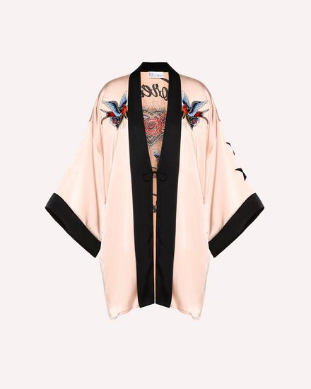 Tattoo-embroidered fluid satin kimono
