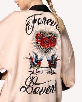 REDValentino Kimono en satin fluide avec broderie tatouage