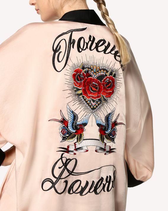 REDValentino Kimono de raso fluido con bordado Tattoo