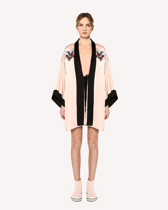 REDValentino Tattoo-embroidered fluid satin kimono