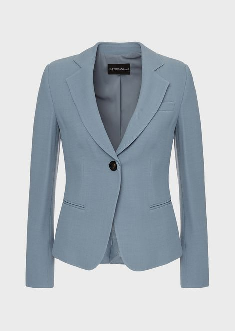 Single-breasted jacket in micro woven fabric
