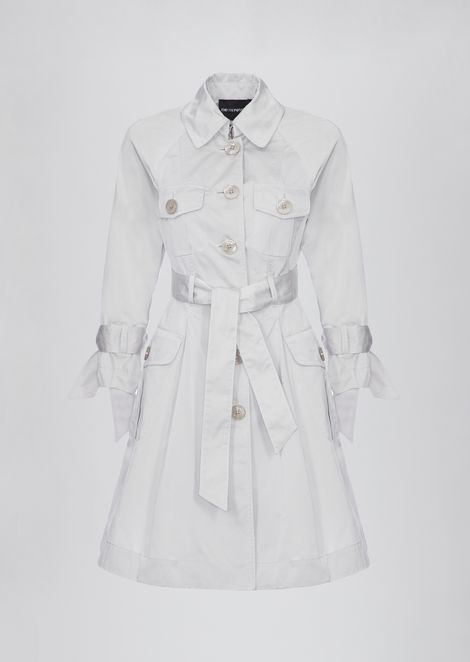 Trench coat in taffeta with bows on the sleeves