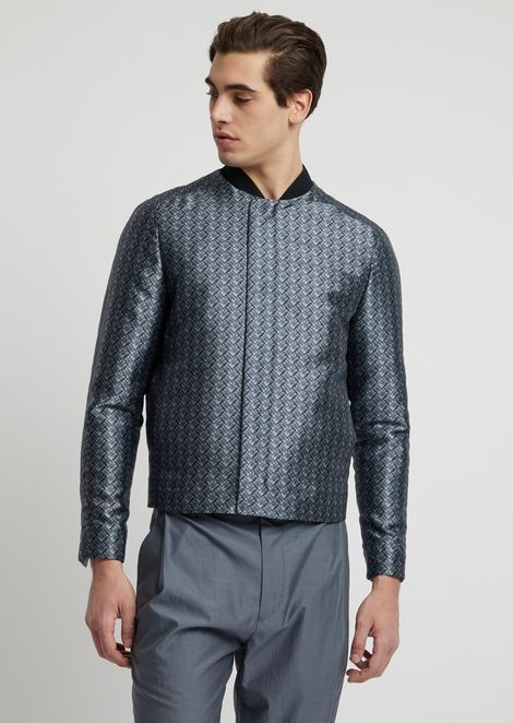 Blouson in mikado fabric with basket-weave print