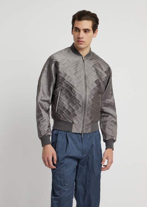 Bomber in jacquard fabric with irregular diamonds