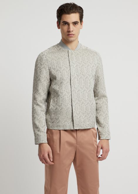 Blouson in crinkle jacquard with tone-on-tone pattern