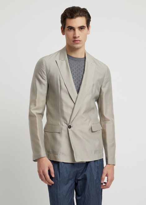 Double-breasted jacket in fil-à-fil silk blend