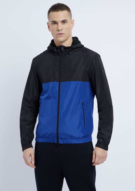 Tech fabric windbreaker jacket with hood
