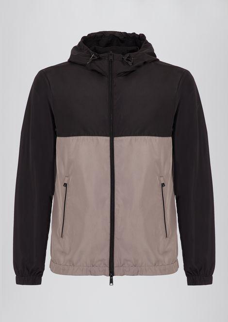 Tech fabric windbreaker jacket with hood