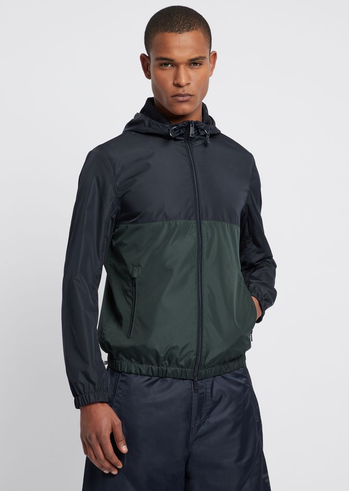 48bd2640699bd2 Tech fabric windbreaker jacket with hood